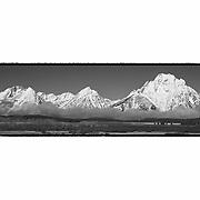 Grand Tetons, WY - Viewpoint - Panoramic - Black & White - Custom Border