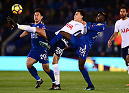 Dele Alli of Tottenham Hotspur is challenged by Wilfred Ndidi of Leicester city ® and Shinji Okazaki of Leicester city (l)..Premier league match, Leicester City v Tottenham Hotspur at the King Power Stadium in Leicester, Leicestershire on Tuesday 28th November 2017.<br /> pic by Bradley Collyer, Andrew Orchard sports photography.
