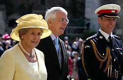 John and Norma Major arrive at St George's Chapel at Windsor Castle for the wedding of Meghan Markle and Prince Harry.