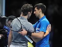 Tennis - 2019 Nitto ATP Finals at The O2 - Day Three<br /> <br /> Singles Group Bjorn Borg: Novak Djokovic (Serbia) vs.Domininic Thiem (Austria)<br /> <br /> Novak Djokovic congratulates Domininic Thiem after the match<br /> <br /> COLORSPORT/ANDREW COWIE
