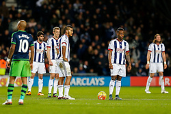Jose Salomon Rondon and Saido Berahino of West Bromwich Albion look dejected after swansea go 0-1 up - Mandatory byline: Rogan Thomson/JMP - 02/02/2016 - FOOTBALL - The Hawthornes - West Bromwich, England - West Bromwich Albion v Swansea City - Barclays Premier League.