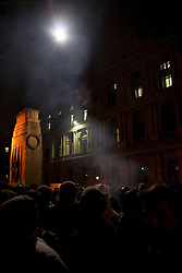 © under license to London News Pictures. 24/11/10. Student protesters on Whitehall are illuminated by a police helicopter's spotlight. Students protest in Westminster at cuts to student funding. Credit should read Matt Cetti-Roberts/London News Pictures
