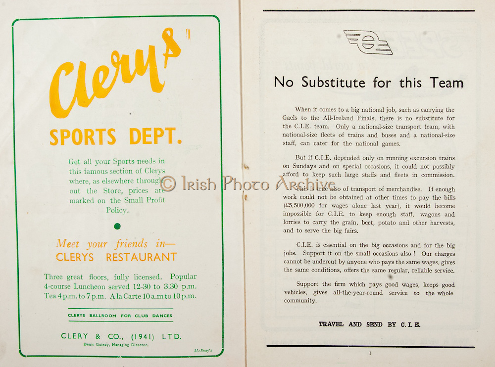 All Ireland Senior Hurling Championship Final,.Brochures,.05.09.1948, 09.05.1948, 5th September 1948, .Waterford 6-7, Dublin 4-2, .Minor Kilkenny v Waterford, .Senior Dublin v Waterford, .Croke Park, ..Advertisements, Clery's Sport Dept., ..Artcles, No Substitute for this Team,
