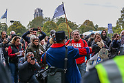 "Protesters gather and hold placards during a ""Match the Million"" march for free speech, free assembly, and freedom from lockdowns in Hyde Park, Central London, on Saturday, Oct 10, 2020. (VXP Photo/ Vudi Xhymshiti)"