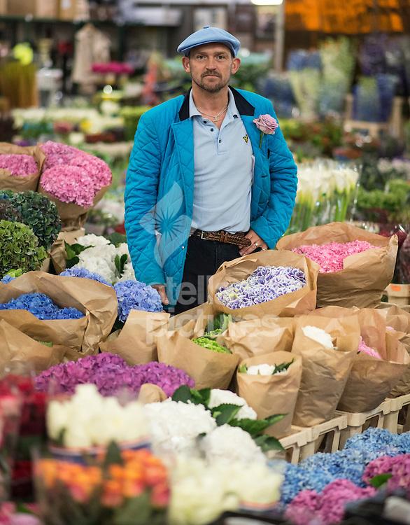 Edwin Martin, trader at New Covent Garden Market. <br /> Picture by Daniel Hambury/Stella Pictures Ltd +44 7813 022858<br /> 25/07/2014