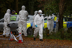 © Licensed to London News Pictures. 24/10/2020. Watlington Hill, UK. Police scenes of crime investigators gather evidence  at Watlington Hill after the body of a woman was found on Friday 23rd October. An injured man was arrested by police near by after a man was seen acting suspiciously in nearby pub. Photo credit: Peter Macdiarmid/LNP