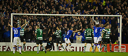 LIVERPOOL, ENGLAND - Tuesday, February 16, 2010: Everton's Sylvain Distin celebrates scoring the second goal against Sporting Clube de Portugal during the UEFA Europa League Round of 32 1st Leg match at Goodison Park. (Photo by: David Rawcliffe/Propaganda)