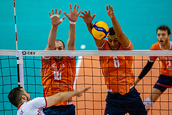 Wouter Ter Maat of Netherlands, Fabian Plak of Netherlands in action during the CEV Eurovolley 2021 Qualifiers between Croatia and Netherlands at Topsporthall Omnisport on May 16, 2021 in Apeldoorn, Netherlands