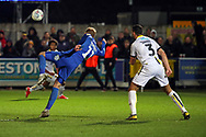 AFC Wimbledon midfielder Mitchell (Mitch) Pinnock (11) about to volley ball in the box during the EFL Sky Bet League 1 match between AFC Wimbledon and Burton Albion at the Cherry Red Records Stadium, Kingston, England on 28 January 2020.