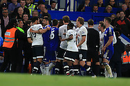 Tempers flair as both sets of players break out in a scuffle. Barclays Premier league match, Chelsea v Tottenham Hotspur at Stamford Bridge in London on Monday 2nd May 2016.<br /> pic by Andrew Orchard, Andrew Orchard sports photography.