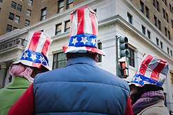 Three people in Uncle Sam hats at Presidential Inauguration of Barack Obama, Washington D.C., USA.
