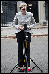 November 22, 2018 - London, United Kingdom - Prime Minister Theresa May gives a statement on the latest Brexit developments outside No10 Downing Street in London. (Credit Image: © Stephen Lock/i-Images via ZUMA Press)