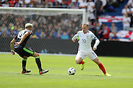 Wayne Rooney of England ® looks to go past Aaron Ramsey of Wales.  UEFA Euro 2016, group B , England v Wales at Stade Bollaert -Delelis  in Lens, France on Thursday 16th June 2016, pic by  Andrew Orchard, Andrew Orchard sports photography.
