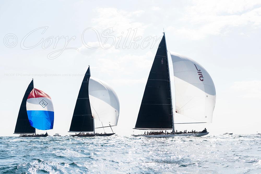 Ranger, Topaz, and Hanuman sailing in the J Class World Championship.