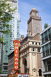 Photo of Chicago Theater in downtown Chicago. The Chicago Theatre is a popular concert venue and is a landmark listed with the National Register of Historic Places.