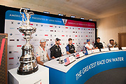 Helmsmen, Jimmy Spithill, Oracle Team USA, Sir Ben Ainslie, Land Rover BAR (UK), Peter Burling, Emirates Team New Zealand, Nathan Outteridge, Artemis Racing, Dean Barker, Softbank Team Japan and Franck Cammas, Groupama Team France. 35th America's Cup opening press conference. 25/5/2017