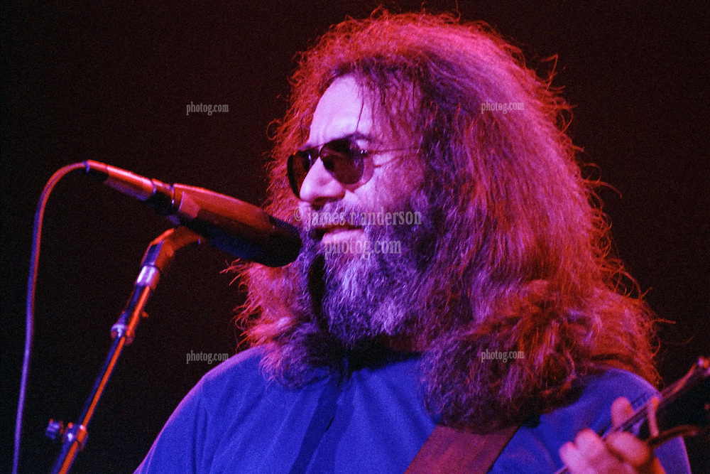 Jerry Garcia with The Grateful Dead at Shea's Buffalo Theater on 20 January 1979. Tight shot of the Guitarist and Lead Singer. Shea's Performing Art's Center, Venue in Upstate New York.