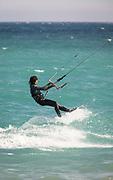 Portrait of kite surfer on sea, Cadiz, Andalusia, Spain