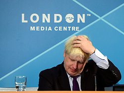 © Licensed to London News Pictures. 28/08/2012. Westminster, UK London Mayor Boris Johnson talks at a Media Briefing on Security and Transport Readiness at The London 2012 Paralympic Games today 28 August 2012. Photo credit : Stephen Simpson/LNP