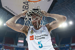 June 19, 2018 - Vitoria, Spain - Real Madrid Rudy Fernandez celebrating the championship during Liga Endesa Finals match (4th game) between Kirolbet Baskonia and Real Madrid at Fernando Buesa Arena in Vitoria, Spain. June 19, 2018. (Credit Image: © Coolmedia/NurPhoto via ZUMA Press)