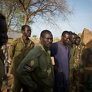 May 01, 2012 - Kauda, Nuba Mountains, South Kordofan, Sudan: A group of Sudan People?s Liberation Movement (SPLA-N) rebel fighters look at weapons and ammunition captured from Sudan's Armed Forces (SAF) during recent combats in the rebel-held territory of the Nuba Mountains in South Kordofan. ..SPLA-North, a historical ally of SPLA, South Sudan's former rebel forces, has since last June being fighting the Sudanese Army Forces (SAF) over the right to autonomy and of the end of persecution of Nuba people by the regime of President Bashir. (Paulo Nunes dos Santos/Polaris)