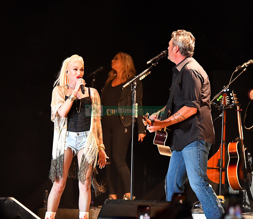 EXCLUSIVE: Gwen Stefani Performs with her boyfriend Blake Shelton after sitting on the sidelines watching him perform at the California Midstate Fair. 21 Jul 2019 Pictured: Gwen Stefani, Blake Shelton, Kingston Rossdale. Photo credit: Marksman/SNorlax / MEGA TheMegaAgency.com +1 888 505 6342