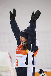 February 11, 2018 - Pyeongchang, South Korea - PERRINE LAFONT of France celebrates after winning the gold medal at the Womens Moguls finals Sunday, February 11, 2018 at Phoenix Snow Park at the Pyeongchang Winter Olympic Games.  Photo by Mark Reis, ZUMA Press/The Gazette (Credit Image: © Mark Reis via ZUMA Wire)