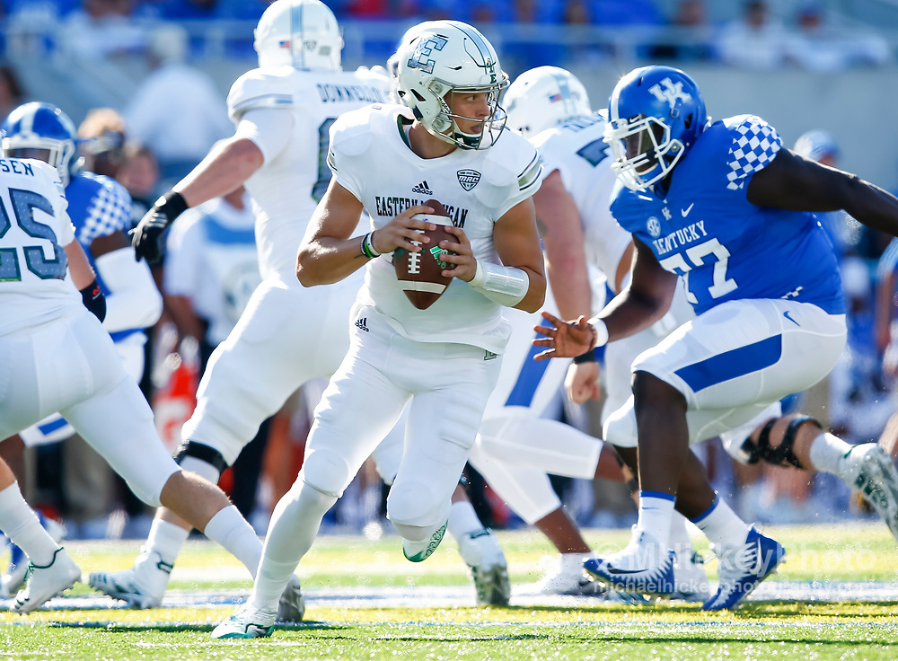 LEXINGTON, KY - SEPTEMBER 30: Brogan Roback #4 of the Eastern Michigan Eagles is seen during the game against the Kentucky Wildcats at Commonwealth Stadium on September 30, 2017 in Lexington, Kentucky. (Photo by Michael Hickey/Getty Images) *** Local Caption *** Brogan Roback