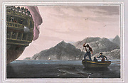 Java Head is the most westerly point of the island of Java, colour print from the book ' A Picturesque Voyage to India by Way of China  ' by Thomas Daniell, R.A. and William Daniell, A.R.A. London : Printed for Longman, Hurst, Rees, and Orme, and William Daniell by Thomas Davison, 1810. The Daniells' original watercolors for the scenes depicted herein are now at the Yale Center for British Art, Department of Rare Books and Manuscripts,