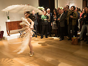 Tallulah Blue- BURLESQUE DANCER,   Launch of 'Taste: The Secret Meaning of Things' by Stephen Bayley, Christies. King St. 16 October 2017