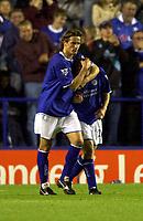 Photo: Richard Lane.<br />Leicester City v Crewe Alexandra. Carling Cup. 23/09/2003.<br />Lilian Nalis congratulates Paul Dickov for his goal.