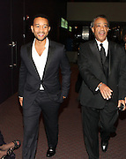 """15 November 2010- New York, NY- l to r: John Legend and Rev. Al Sharpton at The National Action Network's 1st Annual Triumph Awards honoring """"Our Best"""" in the Arts, Entertainment, & Sports held at Jazz at Lincoln Center on November 15, 2010 in New York City. Photo Credit: Terrence Jennings/Sipa Press"""