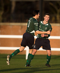 Edinburgh University's Fraser Thomas celebrates after scoring their second goal.<br /> half time : Edinburgh University 2 v 0 Gala Fairydean Rovers, Scottish Sun Lowland League game played 15/11/2014 at Peffermill Playing Fields.