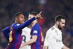 February 6, 2019 - Barcelona, Catalonia, Spain - February 6, 2019 - Camp Nou, Barcelona, Spain - Copa del Rey - FC Barcelona v Real Madrid CF; Malcom of FC Barcelona celebrates scoring his side's first goal  (Credit Image: © Marc Dominguez/ZUMA Wire)