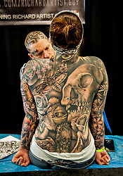 August 13, 2017 - Doncaster, United Kingdom - Tattoo Jam Europe's biggest tattoo convention held at Doncaster racecourse highlighting the world of tattooing. The convention is in its tenth year, showcasing the best tattoo artists from around the world. (Credit Image: © Rob Leyland/London News Pictures via ZUMA Wire)