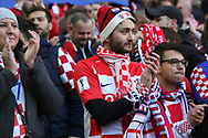 Croatia fans clapping during the UEFA Nations League match between England and Croatia at Wembley Stadium, London, England on 18 November 2018.