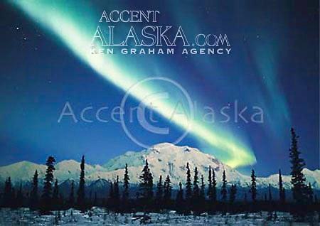 Alaska, Denali National Park. Mt. McKinley (20,320) with Northern Lights. Composite.