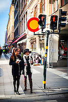 Traffic stop sign in Stockholm - Street scenes from Stockholm