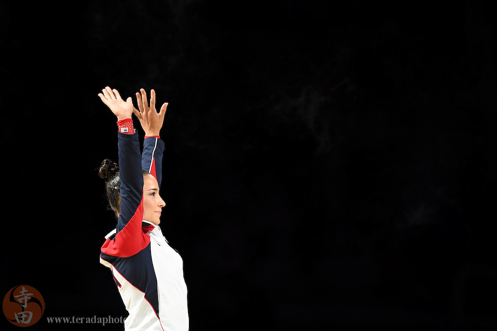 July 8, 2016; San Jose, CA, USA; Aly Raisman, Needham, MA, waves to the crowd during introductions in the women's gymnastics U.S. Olympic team trials at SAP Center.