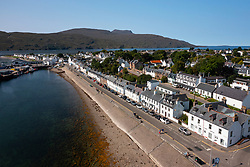 Aerial view  of whitewashed terraced row of houses in Ullapool, Ross and Cromarty, Highland Region, Scotland, Uk