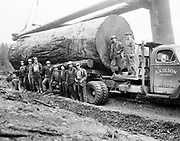 8602-D07.  Logging, log loading. A. A. Olson logging co., Port Angeles 1954.