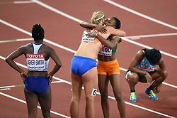 Dafne Schippers of the Netherlands celebrates her first place finish with Marie-Josee Ta Lou of the Ivory Coast - Mandatory byline: Patrick Khachfe/JMP - 07966 386802 - 11/08/2017 - ATHLETICS - London Stadium - London, England - Women's 200m Final - IAAF World Championships