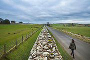 view of the Hadrian's wall near Brampton. a tourist walking alongside the wall.