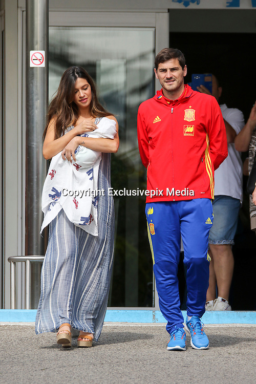MADRID, SPAIN, 2016, MAY 06 <br /> <br /> Iker Casillas, goalkeeper of Futbol Club do Porto with Sara Carbonero, leaving the Ruber clinic, where the journalist has given birth to her second son, Lucas will be called. This Thursday, June 2 was born the second son of Sara Carbonero and Iker Casillas in the Madrid Ruber hospital. The journalist gave birth by Caesarean section at a scheduled delivery and his side could be the player, who will travel to France on June 8 with the Spanish team to play Euro<br /> ©Exclusivepix Media
