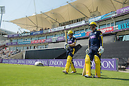 Hampshire openers Jimmy Adams and Thomas Alsop walk out to bat during the Royal London One Day Cup match between Hampshire County Cricket Club and Essex County Cricket Club at the Ageas Bowl, Southampton, United Kingdom on 5 June 2016. Photo by David Vokes.