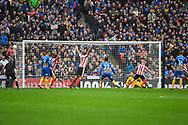 Elliot Whitehouse of Lincoln City (4) scores a goal (1-0) during the EFL Trophy Final match between Lincoln City and Shrewsbury Town at Wembley Stadium, London, England on 8 April 2018. Picture by Stephen Wright.