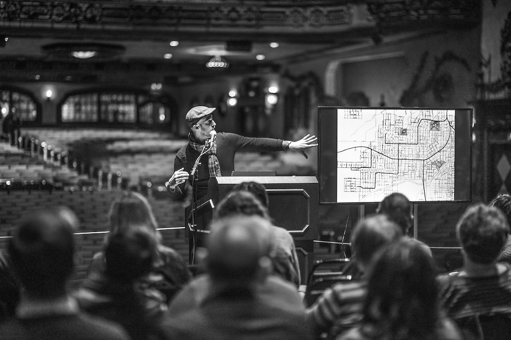 Speaker making a presentation at the Better Block neighborhood event at the Akron Civic Theatre.