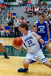 29 June 2013: Brady Sanders (has ball),  Blake Cowden (behind Brady).  2013 Boys Illinois Basketball Coaches Association All Start game at the Shirk Center in Bloomington IL