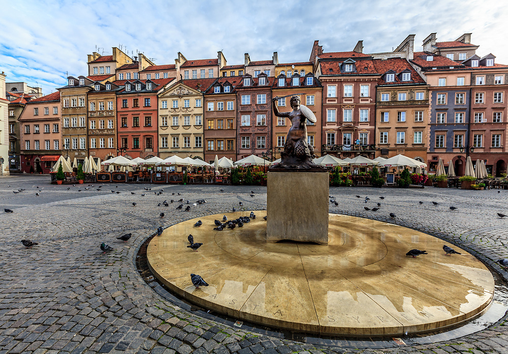 The mermaid statue on Old Town Square  (Rynek Starego Miasta) in Warsaw, Poland. The mermaid, or syrenka, is the symbol of Warsaw.