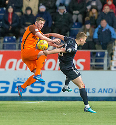 Dundee United's Thomas Scobbie and Falkirk's Tommy Robson. Falkirk 6 v 1 Dundee United, Scottish Championship game played 6/1/2018 played at The Falkirk Stadium.
